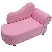 HOMCOM Children Velvet Chaise Lounge Seat-Pink