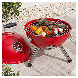 Tesco Portable Charcoal Grill Ball BBQ, Red