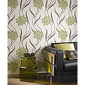Superfresco Poppy Wallpaper - Green and Cream