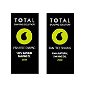 Total Shaving Solution - 100% Natural Shave Oil - 2 x 25 ml Bottles
