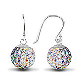 Jewelco London Sterling Silver Crystal 12mm Disco Dazzle Ball Drops Shamballa Earrings - aurora borealis