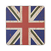 Union Jack Flag Coasters Vintage Design - 6 x Blue
