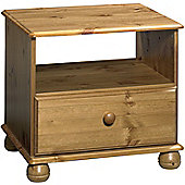 Kayleigh - Solid Wood 1 Drawer Bedside Table - Antique Pine