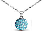 Jewelco London Sterling Silver Crystal Baby Blue Solitaire 12mm Pendant - 18 inch Chain