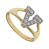 Jewelco London 9ct Gold Ladies' Identity ID Initial CZ Ring, Letter V - Size K