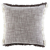 Fringed Cushion, Brown