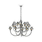 UK Made Chrome and Pewter Large Pendant Light with Spearhead Arms