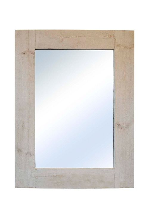 buy large rustic white solid wood wall mirror 4ft x 3ft