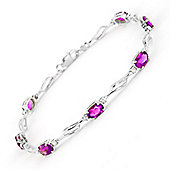 QP Jewellers 7.5in Diamond & Pink Topaz Classic Tennis Bracelet in 14K White Gold