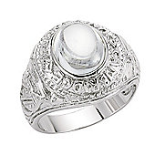 Jewelco London Rhodium-Coated Sterling Silver Gents College Ring Size
