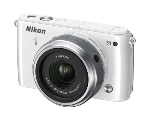 Nikon 1 S1 Digital Camera, White, 10.1MP, 2.5x Optical Zoom, 3.0 inch LCD Screen