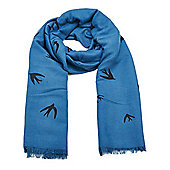 Blue Bird Print Long Scarf