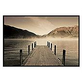 Peaceful Lakeside Scene Gloss Black Framed Jetty at Lake Rotoiti Poster