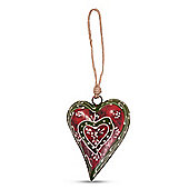 Red & Green Metal Decorative Hanging Heart Ornament