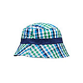 Reversible Blue and Green Check Fisherman's Hat - Blue