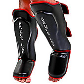 Bruce Lee Dragon Deluxe MMA Shin Guards Leather - Black