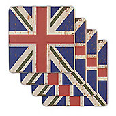 Union Jack Flag Coasters Vintage Design - 4 x Blue