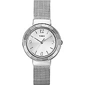 Timex Ladies Wms Faceted Crystal Chrome Mesh Watch T2P196