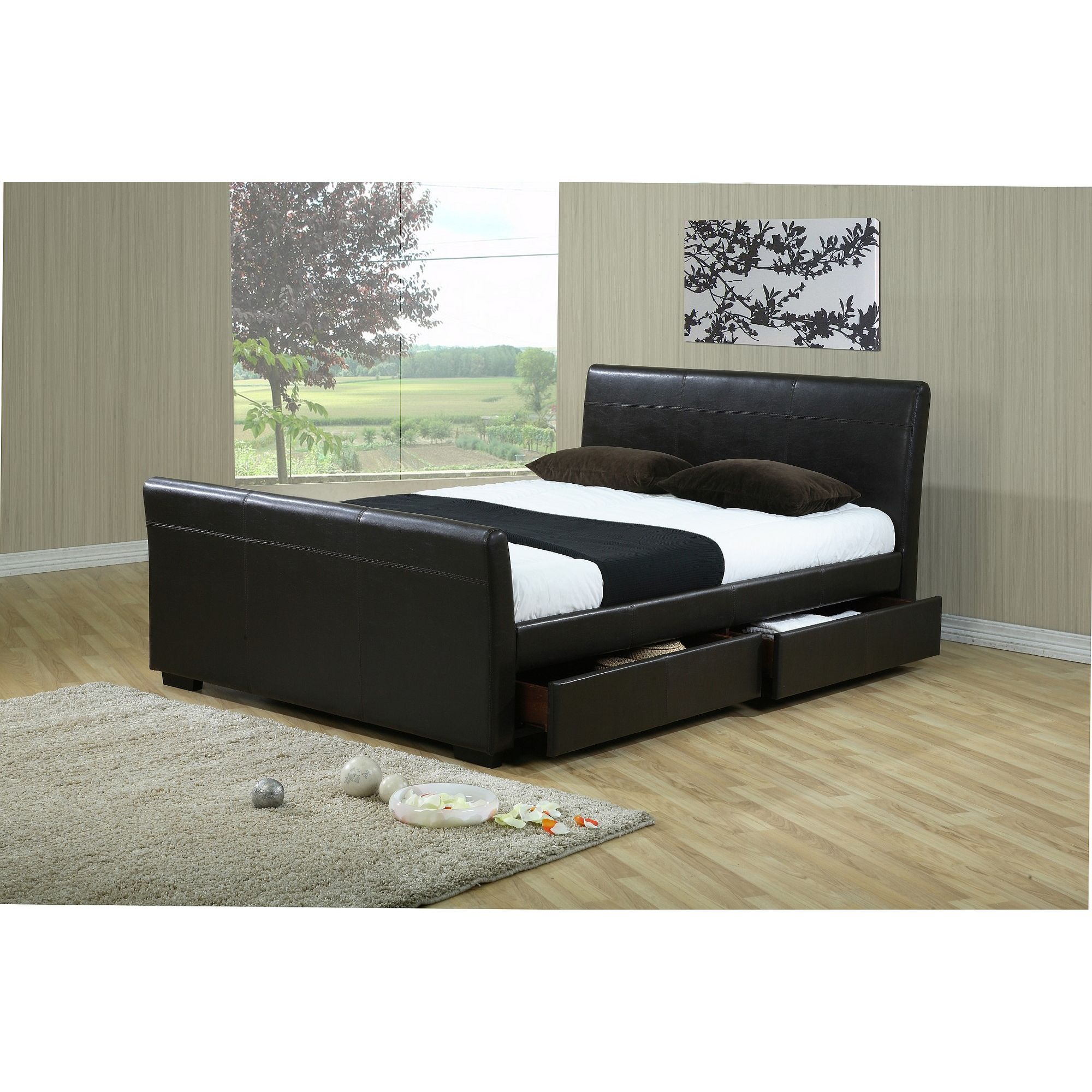 Altruna Houston Faux Leather Bed Frame - Double - Brown at Tesco Direct