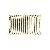 Linea Blue Stripe Cushion, Yellow Border Stitch - Yellow