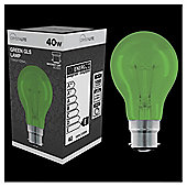 40w - Crystalite - GLS - BC - Green - 1 pk box