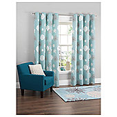 "Tesco Meadow Print Lined Eyelet Curtains W162xL137cm (64x54""), Soft Teal"