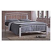 White Metal & White Beech Bed Frame - Single 3ft