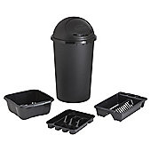 Tesco 4pc Kitchen Set Bullet Bin Set - Black