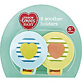 Tesco Loves Baby Soother Holder Boy x2