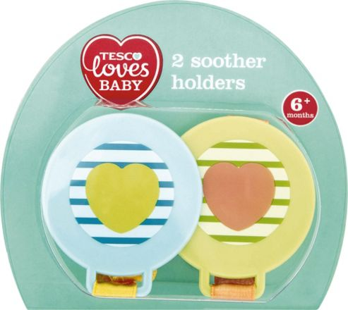TESCO LOVES BABY SOOTHER HOLDERS BOY x2