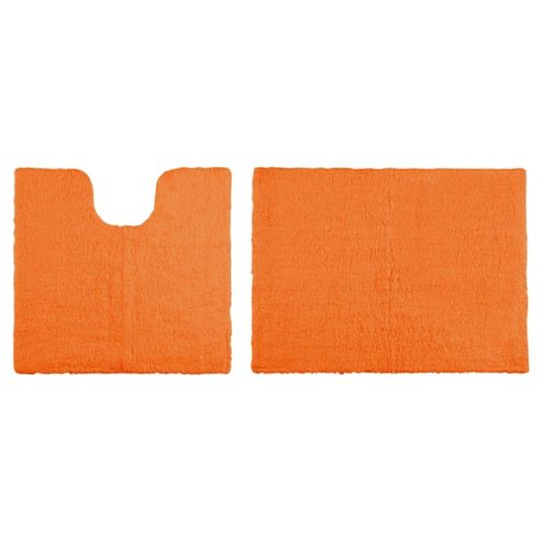 Tesco Reversible Pedestal And Bath Mat Set Orange