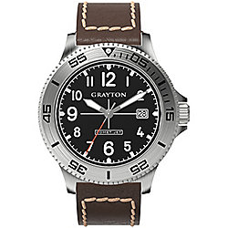 Grayton Comet.Jet Mens Leather Date Watch GR-0014-003.6
