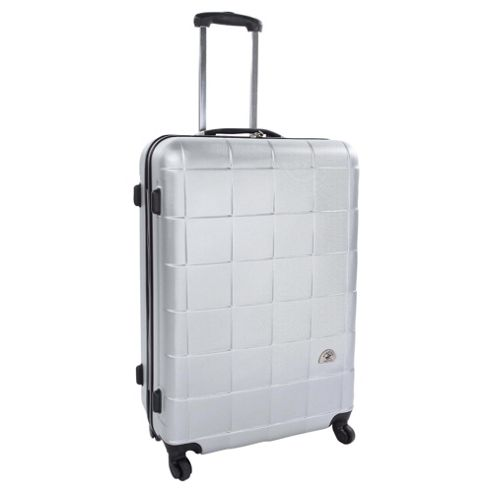 Beverly Hills Polo Club 4-Wheel Hard Shell Suitcase, Silver Square Print Small