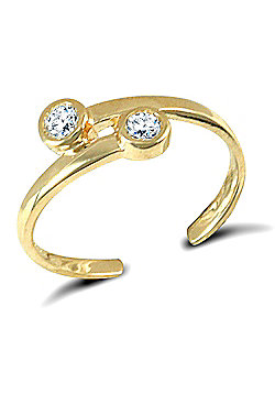 Jewelco London 9ct Solid Gold cross over style CZ set Toe Ring