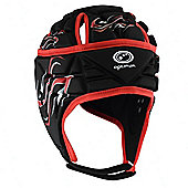 Optimum Inferno Rugby Headguard Scrumcap Black / Red - Black