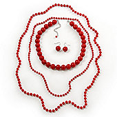 3-Piece Hot Red Acrylic Necklace & Drop Earrings Set - 102cm Length