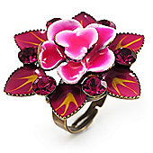 Raspberry Crystal Enamel Cocktail Ring (Bronze Tone)