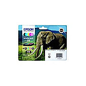 Epson Elephant 24 (RF/AM) 6 Colour Multipack Claria Photo HD Ink Cartridges (Black, Yellow, Cyan, Magenta, Light Magenta, Light Cyan) for Epson