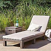 Allibert Monterey Brown Rattan Sunlounger & Cushion