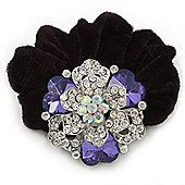 Large Layered Rhodium Plated Swarovski Crystal Rose Flower Pony Tail Black Hair Scrunchie - Amethyst/ Clear/ AB