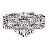 Stunning Chrome Flush Ceiling Light with Glass Decoration