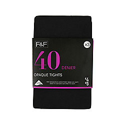 F&F 3 Pack of 40 Denier Tights S Black