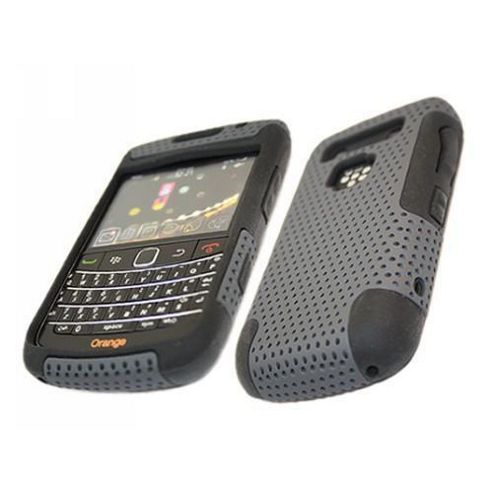 FuZion NET Black Soft Silicone Case & Hard Grey Back Cover - BlackBerry 9700