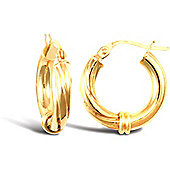 Jewelco London 9ct Yellow Gold Half Twisted hoop Earrings with collared dividing point