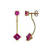 QP Jewellers 4.15ct Pink Topaz Princess Lure Drop Earrings in 14K Gold