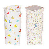 Grobag Baby Gro Swaddle TWIN Pack (Spotty Bear) - Multi & White