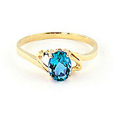 QP Jewellers 0.95ct Blue Topaz Classic Desire Ring in 14K Gold