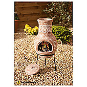 La Hacienda 69 x 30cm Clay Chiminea & Stand, Salmon