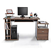 Homcom PC Workstation with Drawer Shelves Storage office Furniture Brown