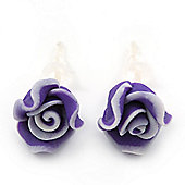 Children's Pretty Violet Acrylic 'Rose' Stud Earrings With Acrylic Backings - 9mm Diameter